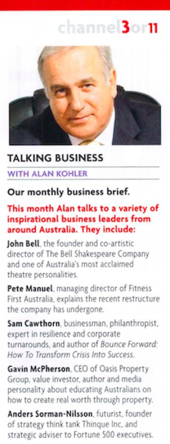 Alan Kohler Interviews Futurist on Qantas Radio